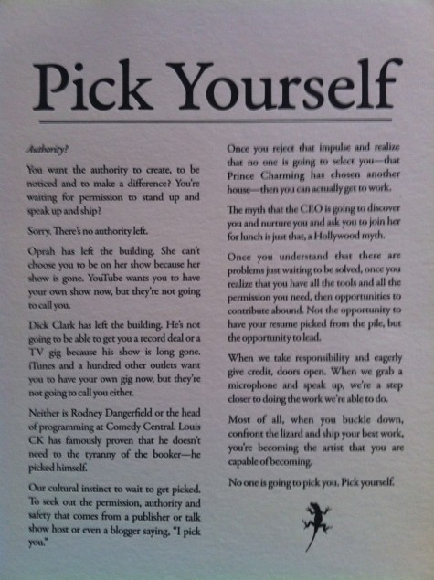Kenny Jahng's copy of Seth Godin's Pick Yourself Manifesto