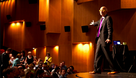 Seth Godin answering audience questions in New York during his Live event in Tribeca