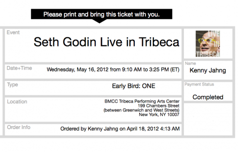 Discounted ticket to Seth Godin Live in Tribeca Event in NYC May 16
