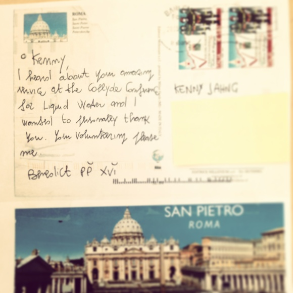thank you note from the Pope